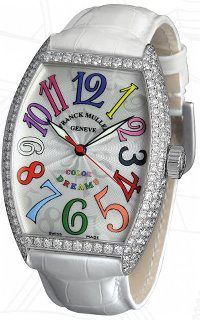 Lighten up with a little help from Franck Muller. The Color Dreams collection is a bright, bold way to liven up the wrist, perfect for springtime. A daring, modern collection, it is unique in that each numeral is hand-painted a different color, with every hue boldly represented on the face of the watch. Discover the rainbow on this Cintree Curvex—it really is a dream.