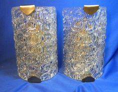 Pair Mid Century 60´s Ice Glass Brass Wall Lamps Mirror Sconces #O/B