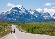 Whitefish, Montana.  Traffic Alert!  Two people riding a bike!