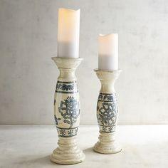 Pier 1 Imports Blue Flower Terracotta Pillar Candle Holders