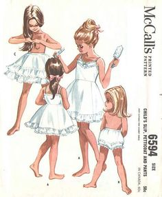 Your place to buy and sell all things handmade : McCalls 6594 Girls Heirloom Dainty Underclothes Pattern Pantalettes Panties Slip Childs Toddlers Vintage Sewing Size 4 Breast 23 UNCUT Childrens Sewing Patterns, Mccalls Patterns, Vintage Sewing Patterns, Clothing Patterns, Skirt Patterns, Vintage Girls, Vintage Children, Vintage Outfits, Vintage Fashion