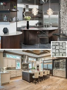 A Pittsburgh kitchen (top) and a Longboat Key kitchen (bottom) both feature the same backsplash made of Crossville Sideview Glass Tile. #housetrends