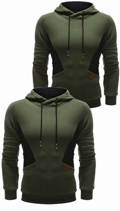 $23.90 Color Splicing PU Leather Embellished Hoodie