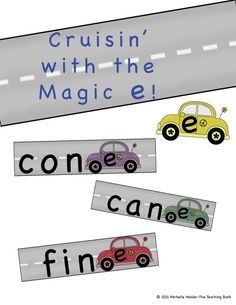 """Cruisin' with the Magic e is a Common Core Standard aligned manipulative activity to help reinforce the CVCE/""""silent e"""" or """"Magic e"""" rule. The Magic e has the power to change short vowel sound to a long vowel sound when added to a word to create a whole new word. Folder Games, File Folder, Literacy Stations, Literacy Centers, Short E Sound, Learning Activities, Teaching Ideas, Short Vowel Sounds, Common Core Curriculum"""
