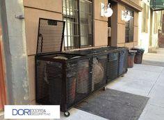 Garbage Enclosure expanded metal, top lids with piston arm, bottom heavy duty wheels, front service doors. www.doridoors.com #DoridoorsNY #Installation #NYC #doors