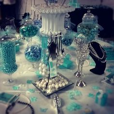 Candy table at a Tiffany's Party #tiffanys #partycandy