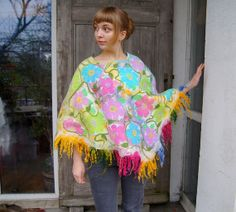 Nuno felted pastel poncho  floral spring wrap cape by filcAlki