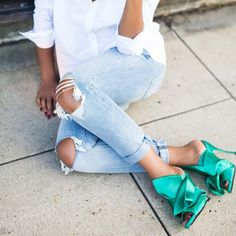 Beautiful, Charming Turquoise Heels Knot Satin Open Toe Mule Sandals for Prom you best choice for Work, School -TOP Design by FSJ Mint Shoes Outfit, Heels Outfits, Trendy Outfits, Trendy Fashion, Fashion 2020, Turquoise Heels, Open Toe Mules, Prom Heels, Mule Sandals