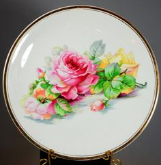 Antique 1859 - 1929 K T & K Semi Vitreous Porcelain Rose Plate 4012