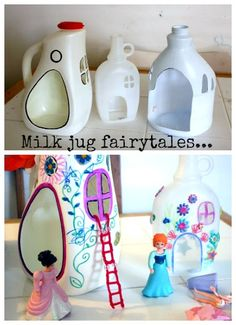 Upcycle: Milk Jug Wizardry! Fairy houses...these are awesome. They could be boy-critter houses :)