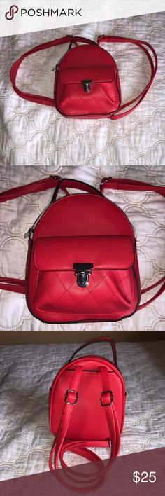 9af6e6299e Red Faux Leather Mini Backpack 🎒 I loved having this for my trip to Boston!