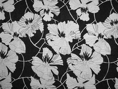 1 yard Luxury Upholstery Tapestry Fabric Poppy Poppies Flowers Floral Design 39 x 78 black and white