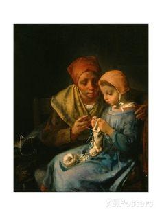 The Knitting Lesson, 1869 Giclée-Druck von Jean-Francois Millet bei AllPosters.de