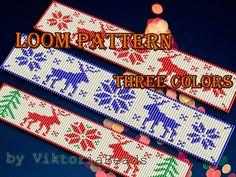 Christmas deer loom pattern bracelet, Set 3 Nordic star bracelet http://etsy.me/2jGBCqI #etsy #Christmasdeer #loom #bracelet