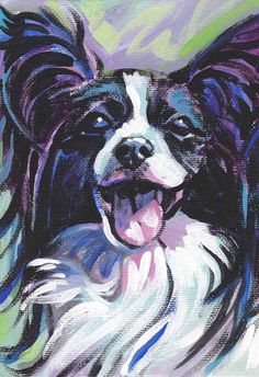 Papillon art print dog pop art bright colors by BentNotBroken, $11.99