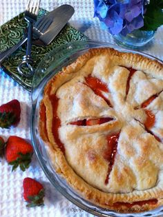 Old Fashioned Strawberry Pie- made it with store bought crust and used 4 cups of strawberries in a 9.5 inch pie dish. Eyeball more sugar and flour. Turned out so amazing.