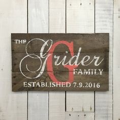 Personalized Family name sign. This reclaimed pallet wood sign would be great for a housewarming gift, wedding gift or anniversary gift. It would also be a wonderful gift for parents or grandparents on special occasions. Some people also have used them for business signs or company signs. For the wording on your custom name sign, you can choose any combination that you would like. Please just let me know in the notes exactly what you would like it to say. If there is no wording preference…