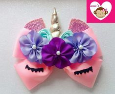 Creaciones Diana Villa ( Moños mono's) Making Hair Bows, Diy Hair Bows, Unicorn Birthday, Unicorn Party, Barrettes, Hairbows, Kids Hair Accessories, Boutique Hair Bows, Unicorn Hair