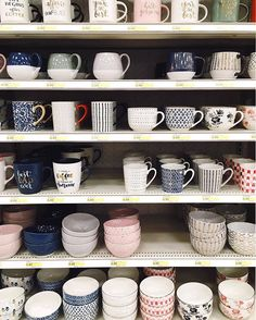 One my favorite views. I find myself always standing in front of this shelf with no intention to buy because really it's all or none. I don't think that's what they mean by #retailtherapy but that's certainly how it works for me. . . #abmlifeiscolorful #pottery #pattern #color #smmakelifebeautiful