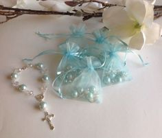 5 Blue Bracelet Rosary For Wedding Quinceanera Bridesmaids 5 Small Organza Bag