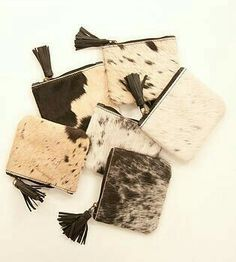 Secure 'clutch and pin' fitting - much safer than 'safety pin' style. Cowhide Purse, Cowhide Leather, Leather Bags Handmade, Leather Craft, Leather Pillow, Pencil Bags, Cow Hide, Clutch, Leather Accessories