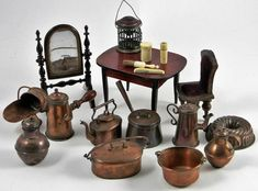 COLLECTION OF DOLLS HOUSE FURNITURE AND COPPER WARE Ikea Dollhouse, Antique Dollhouse, Modern Dollhouse, Dollhouse Miniatures, Miniature Rooms, Miniature Furniture, Dollhouse Furniture, Art Nouveau, Diy Barbie Furniture