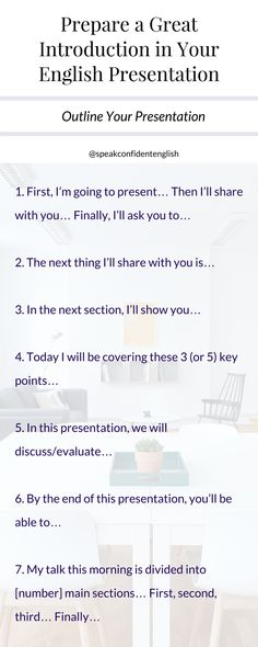 Presenting in English. Here's some great language to help you outline your presentation so it's easy to follow and your communication is clear. Get the full lesson at https://www.speakconfidentenglish.com/3-steps-introduction/?utm_campaign=coschedule&utm_source=pinterest&utm_medium=Speak%20Confident%20English%20%7C%20English%20Fluency%20Trainer