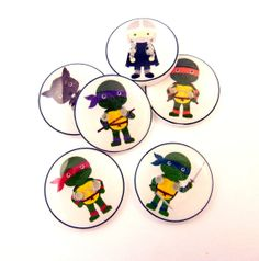 6 Turtle Super Hero Buttons. 3/4 or 20 mm. by buttonsbyrobin,