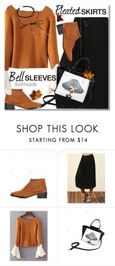 """Pleated skirt + Bell sleeves"" by svijetlana ❤ liked on Polyvore featuring Bølo, pleatedskirts, polyvoreeditorial, bellsleeves and zaful"