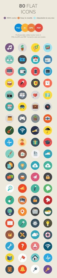 80 Vector Flat Icons