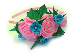 Baby Flower Headband  Pink rose, blue fabric flower toddler headband with satin ribbon flower. For girl. Girl, toddler hair accessories