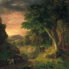 """George Inness (1825-1894) was a prominent American landscape painter and georgist activist. One of the most influential American artists of the nineteenth century, Inness was influenced, in turn, by the Old Masters, the Hudson River school, the Barbizon school, and, finally, the theology of Emanuel Swedenborg, whose spiritualism found vivid expression in the work of Inness's maturity. (Wikipedia)  (""""In the Berkshires"""" by George Inness)"""