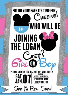 Gender Reveal Party Invitation, Minnie and Mickey Gender Reveal Invitation, Disney Theme Gender Reveal Invitation, DIY or Printed Invite offenbaren Ideen Disney Gender Reveal, Gender Reveal Themes, Gender Reveal Party Invitations, Gender Reveal Party Decorations, Baby Gender Reveal Party, Gender Party, Reveal Parties, Etsy, Disney Theme