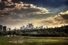 view from my hood across riverdale park to downtown toronto.