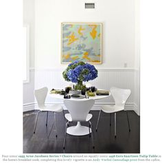 1955 arne jacobsen series 7 chairs around 1956 eero saarinen tulip table (andy warhol camouflage print)