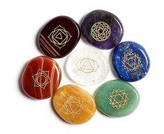 Chakra Set mit 7 Steinen   Premium Edelsteine zur Meditation/Reiki/Energiearbeit/Spirituelle Therapie   Handgefertigte Heilsteine mit Chakrenzeichen (Full Chakra Set)