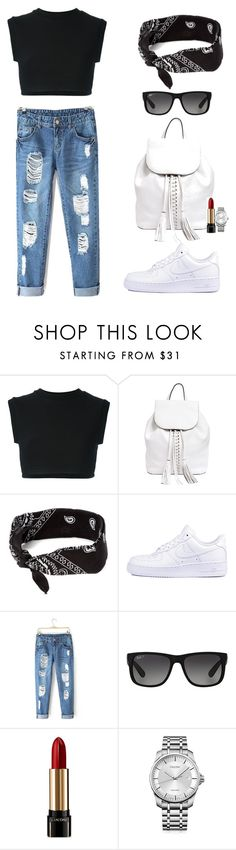 """""""Baby don't you lie to me."""" by aazerty ❤ liked on Polyvore featuring adidas Originals, Rebecca Minkoff, claire's, NIKE, Ray-Ban, Lancôme and Calvin Klein"""