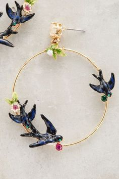 Lovebird Hoops - anthropologie.com #anthrofave