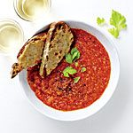 Rustic Tomato Soup with Cheesy Toasts Recipe | MyRecipes.com.  Very, very good!  No fenne, served with Green Chile Grilled Cheese