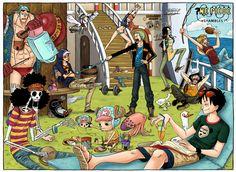 Law shambles everbody Nami-Zoro, Zoro-Usopp, Usopp-Chopper, Chopper-Brook, Brook-Franky, Franky-Nami, Sanji-Robin, Robin-Luffy, Luffy-Sanji.