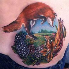 Jumping Fox Tattoo by Off the Map Tattoo Full Time Artist Johnny Smith #tattoo #tattoos #animaltattoo #massachusetts #tattoostudio #johnnysmith #fox #blackberries