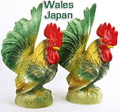 Great color on these vintage roosters. Rooster Art, Rooster Decor, Doodle Doo, Early Middle Ages, Chicken Feed, Chickens And Roosters, Vintage China, Vintage Kitchen, Fun Stuff