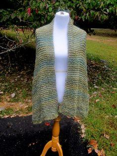 Olive Green Blue  Hand Knit Shawl by PoppyLesti on Etsy, $65.00