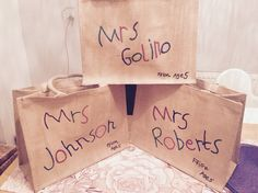 Personalised Thank you teacher hand made gifts. I got my daughter to write on some hessian bags, then I went over them with Dylon fabric paints.