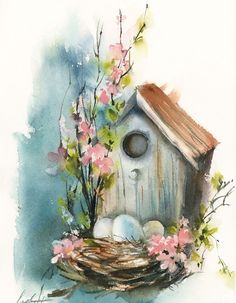 Spring birds nest bird house painting art drawing Spring Still Life Watercolour by Sophie Rodionov Spring Drawing, Spring Painting, Spring Art, Spring Birds, Watercolor Bird, Watercolour Painting, Simple Watercolor, Watercolor Brushes, Watercolor Portraits