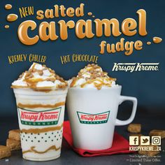 Krispy Kreme South Africa launches a delicious range of Salted Caramel Fudge Beverages Hot Chocolate Fudge, Salted Caramel Fudge, Krispy Kreme, South Africa, Beverages, Product Launch, Range, Breakfast, Food