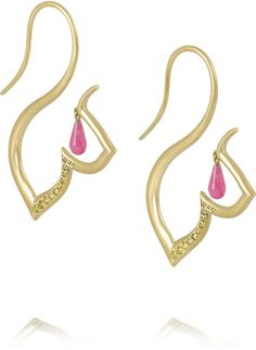 Alice Cicolini Chattri 18-karat gold, diamond and rubellite earrings