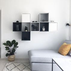 A few shelves on the wall in the children's TV room have come up 👍🏻 . - Ikea DIY - The best IKEA hacks all in one place Ikea Storage, Wall Storage, Wall Shelves, Ikea Living Room, Ikea Bedroom, Bedroom Decor, Ikea Eket, Ikea Office, Room Inspiration