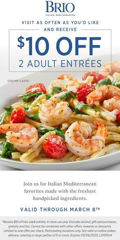 Pinned March 5th: $10 off a couple entrees at #Brio #TheCouponsApp Couponing 101, Restaurant Offers, Shopping Coupons, Brio, Plastic Surgery, Entrees, March, Lovers, Couple