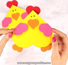 Heart Chicken CraftIf your friends fancy chickens why not make their day with this adorable heart chicken craft – a cool little Valentines day card.Heart Chicken Craft If your friends fancy chickens why not make Bee Crafts, Bunny Crafts, Easter Crafts For Kids, Preschool Crafts, Paper Crafts, Diy Paper, Heart Crafts, Craft Activities, Valentines Bricolage